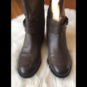 ENZO ANGIOLINI WIDE CALF LEATHER RIDING BOOTS
